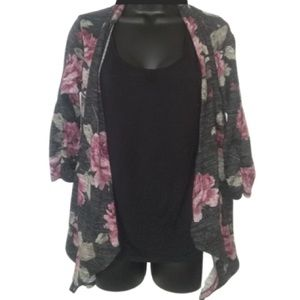 Black Tee with attached Floral Cardagin